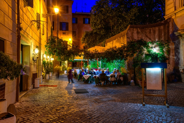 Night view of old street in Trastevere in Rome, Italy